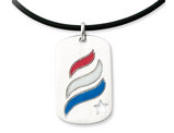'Embrace Hope Prayer' Dog Tag Pendant Necklace in Sterling Silver and Enamel with Rubber Cord
