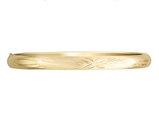 Diamond Cut and Satin Hinged Bangle in 14K Yellow Gold (8.00 mm)