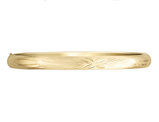 Diamond Cut and Satin Hinged Bangle in 14K Yellow Gold (8.00 mm)