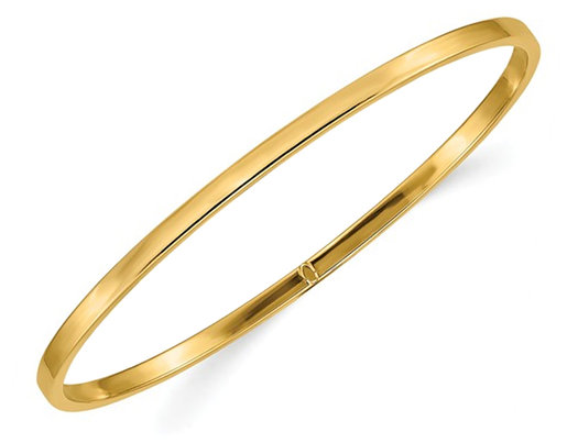Polished Slip On Square Tube Bangle in 14K Yellow Gold (3.00 mm)