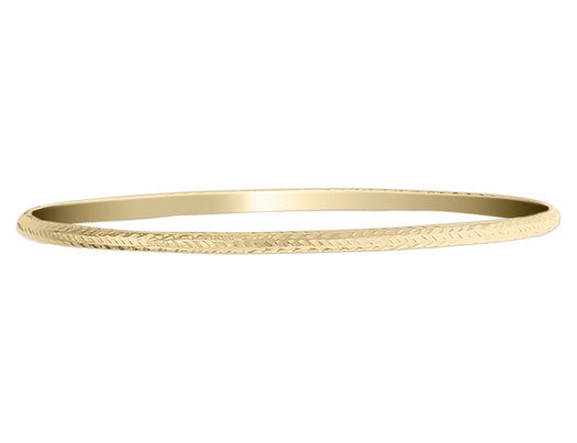 Diamond Cut Slip On Bangle in 14K Yellow Gold (3.00 mm)