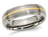 Ladies or Mens Titanium Ridged Edge 6mm 14K Yellow Inlay Brushed Wedding Band