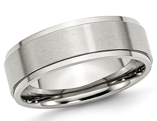 Men's Chisel 7mm Stainless Steel Comfort Fit Ridged Wedding Band with Ridge