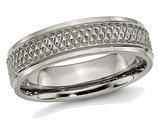 Men's Titanium Ridged Edge Weave 6mm Wedding Band