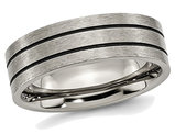 Men's Chisel Titanium 7mm Enamel and Grooved Brushed Wedding Band