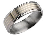 Men's Chisel 7mm Titanium Wedding Band with Sterling Silver Inlay