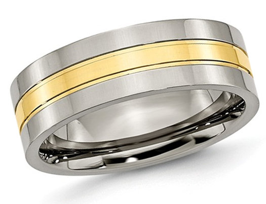 Men's Chisel 7mm Comfort Fit Titanium Polished Wedding Band with Yellow Plating