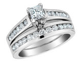 2/5 Carat (ctw H-I, I1-I2) Princess Cut Diamond Engagement Ring & Wedding Band in 10K White Gold