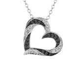 White and Black Diamond Heart Pendant Necklace 1/4 Carat (ctw) in Sterling Silver with Chain