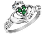 Emerald Claddagh Ring with Diamonds 1/10 Carat (ctw) in 10K White Gold