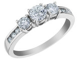 1.00 Carat (ctw Color H-I , Clarity I2-I3) Three Stone Diamond Engagement Ring in 10K White Gold