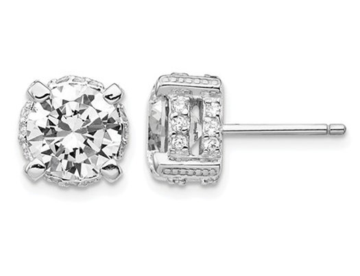 Synthetic Cubic Zirconia (CZ) Solitaire Earrings in Sterling Silver (8mm)