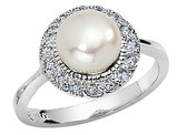 Cheryl M. Freshwater Cultured Pearl Ring in Sterling Silver with Synthetic Cubic Zirconia