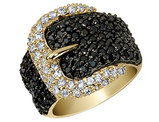 Cheryl M. White and Black Synthetic  Cubic Zirconia (CZ) Buckle Ring in Sterling Silver Gold Plating