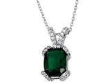 Cheryl M. Created Synthetic Emerald Pendant Necklace in Sterling Silver with Chain