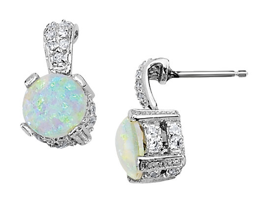 Cheryl M Created Synthetic Opal Earrings With Cubic Zirconia Cz In Sterling Silver