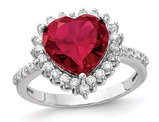 Lab Created 3.50 Carat (ctw) Ruby Heart Ring in Sterling Silver