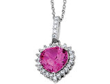 Cheryl M. Created Sapphire Heart Pendant Necklace in Sterling Silver with Chain
