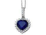 Created Blue Sapphire Heart Pendant Necklace in Sterling Silver with Chain