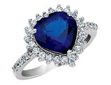 Cheryl M. Created Blue Sapphire Heart Ring in Sterling Silver