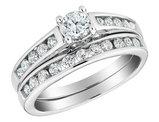1/2 Carat (ctw H-I I2-I3) Diamond Engagement Ring and Wedding Band Set in 14K White Gold