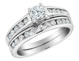 1/2 Carat (ctw H-I I2-I3) Diamond Engagement Ring and Wedding Band Set in 14K White Gold