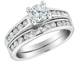1.00 Carat (ctw H-I-J, I2-I3) Diamond Engagement Ring and Wedding Band Setin 10K White Gold