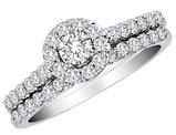 1.0 Carat (ctw H-I, I2-I3) Diamond Halo Engagement Ring and Wedding Band Set in 10K White Gold
