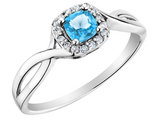 Blue Topaz Ring with Diamonds in 10K White Gold