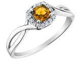 Citrine Ring with Diamonds in 10K White Gold