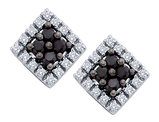 White and Black Diamond Stud Earrings 1/4 Carat (ctw) in 10K White Gold