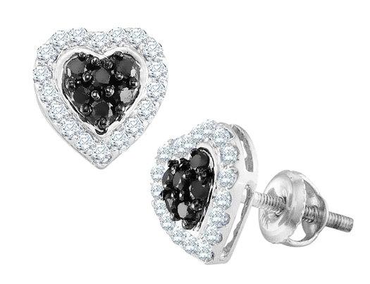 White and Black Diamond Heart Stud Earrings 1/3 Carat (ctw) in 10K White Gold