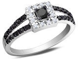 White and Enhanced Black Diamond Ring 1/2 Carat (ctw) in 10K White Gold