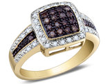 White and Enhanced Champagne Diamond Ring 1/2 Carat (ctw Color H-I, Clarity I2-I3) in 14K Yellow Gold