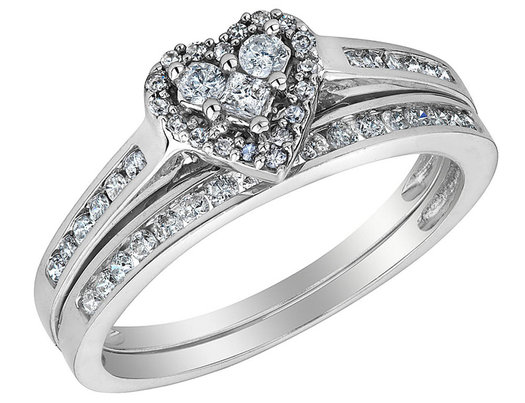 Diamond Heart Engagement Ring and Wedding Band Set 1/2 Carat (ctw) in 10K White Gold