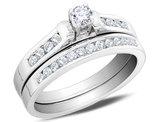 1/2 Carat (ctw I1-I2, H-I) Diamond Engagement Ring and Wedding Band in 14K White Gold