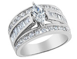 1.00 Carat (ctw) Diamond Marquise Engagement Ring in 14K White Gold