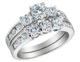2.0 Carat (ctw) Three Stone Diamond Engagement Ring & Wedding Band Bridal Set 14K White Gold