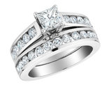 Princess Cut Diamond Engagement Ring and Wedding Band Set 2.0 Carat (ctw) (5/8 Ct Center) in 14K White Gold