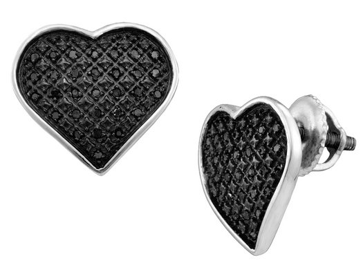 Black Diamond Heart Earrings 1/4 Carat (ctw) in Sterling Silver with Screwbacks