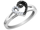 White and Black Diamond 1 /5 Carat (ctw) Heart Promise Ring in Sterling Silver
