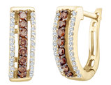 White and Enhanced Champagne Diamond Earrings 1/2 Carat (ctw I2-I3)) in 14K Yellow Gold