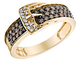 White and Champagne Diamond Buckle Ring 1/2 Carat (ctw) in 14K Yellow Gold