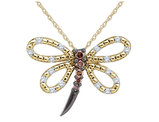 White and Champagne Diamond Dragonfly Pendant Necklace 1/4 Carat (ctw) in 14K Yellow Gold with Chain