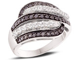 White and Black Diamond Cocktail Ring 1.00 Carat (ctw) in 14K White Gold
