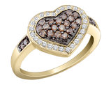 1/2 Carat (ctw) White and Champagne Diamond Heart Ring in 14K Yellow Gold