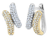 Diamond Hoop Earrings 1/2 Carat (ctw Color- H-I, Clarity I1-I2) in 14K White and Yellow Gold