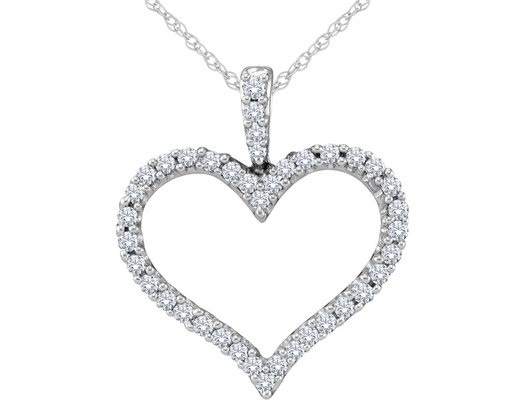 Diamond Heart Pendant Necklace 1/2 Carat (ctw Color H-I Clarity I1-I2) in 14K White Gold with Chain
