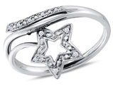 Fashion Star Ring in 10K White Gold with Accent Diamonds