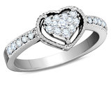 Diamond Heart Promise Ring 1/3 Carat (ctw Color H-I, Clarity I1-I2) in 14K White Gold